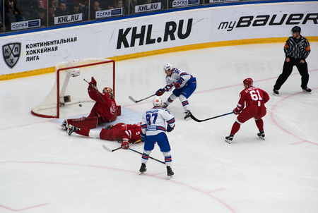 gusev: PODOLSK, RUSSIA - NOVEMBER 11, 2016: N. Gusev (97) score on hockey game Vityaz vs SKA on Russia KHL championship on November 11, 2016, in Podolsk, Russia. SKA won 4:0 Editorial