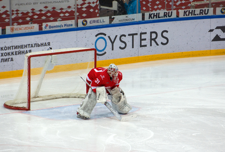 MOSCOW, RUSSIA - NOVEMBER 26, 2016: N. Bespalov (31) on the gate on hockey game Spartak vs Slovan on Russian KHL premier hockey league Championship in Luzhniki sport arena, Moscow, Russia. Spartak won 4:2 Editorial