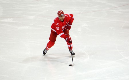 premier: MOSCOW, RUSSIA - NOVEMBER 26, 2016: M. Gilroy (97) in action on hockey game Spartak vs Slovan on Russian KHL premier hockey league Championship in Luzhniki sport arena, Moscow, Russia. Spartak won 4:2 Editorial