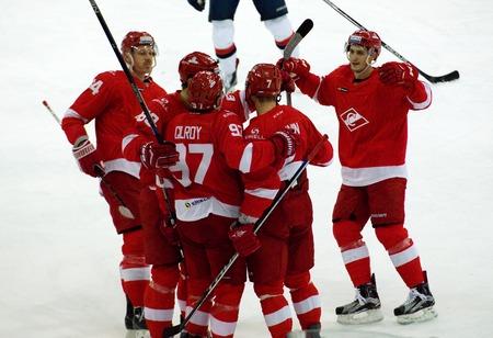 MOSCOW, RUSSIA - NOVEMBER 26, 2016: Spartak team rejoice on hockey game Spartak vs Slovan on Russian KHL premier hockey league Championship in Luzhniki sport arena, Moscow, Russia. Spartak won 4:2