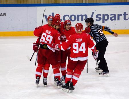 MOSCOW, RUSSIA - NOVEMBER 26, 2016: on hockey game Spartak vs Slovan on Russian KHL premier hockey league Championship in Luzhniki sport arena, Moscow, Russia. Spartak won 4:2