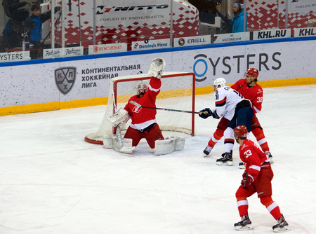 premier: MOSCOW, RUSSIA - NOVEMBER 26, 2016: N. Bespalov (31) in action on hockey game Spartak vs Slovan on Russian KHL premier hockey league Championship in Luzhniki sport arena, Moscow, Russia. Spartak won 4:2
