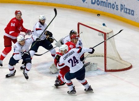MOSCOW, RUSSIA - NOVEMBER 26, 2016: Slovan gate under attack on hockey game Spartak vs Slovan on Russian KHL premier hockey league Championship in Luzhniki sport arena, Moscow, Russia. Spartak won 4:2 Editorial