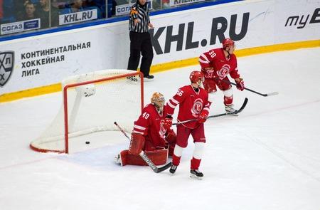 PODOLSK, RUSSIA - DECEMBER 4, 2016: Dissapointed I. Saprykin (40) on hockey game Vityaz vs Ugra on Russia KHL championship on December 4, 2016, in Podolsk, Russia. Ugra won 3:2