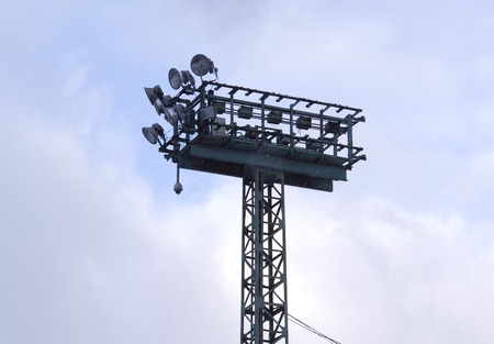 satelite: Projector tower on city event of open Winter game season on November 11, 2016, in Moscow, Russia