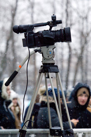 MOSCOW, RUSSIA - DECEMBER 10, 2016: Digital camera filming on music show on Winter game season opening event on December 10, 2016