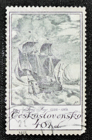 frans: MOSCOW, RUSSIA - JANUARY 7, 2017: A stamp printed in Czechoslovakia shows Huys, Frans (1522-1562) Ships collection, circa 1976