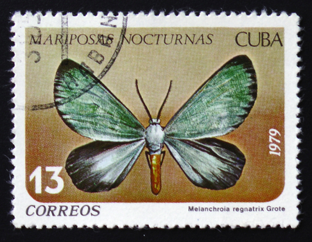 MOSCOW, RUSSIA - FEBRUARY 12, 2017: A stamp printed in Cuba shows butterfly with the inscription Melanchroia regnatrix, series, circa 1979