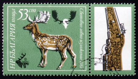 MOSCOW, RUSSIA - FEBRUARY 12, 2017: A stamp printed by Bulgaria shows Dappled deer, Plovdiv, EXPO 81, circa 1981