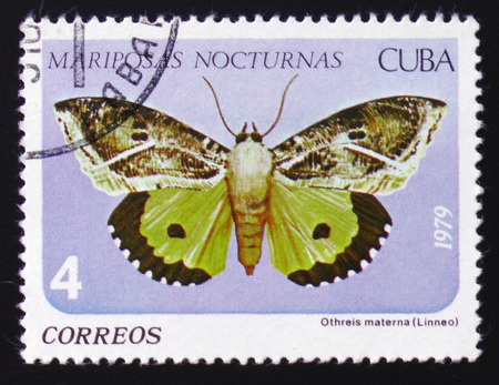 MOSCOW, RUSSIA - FEBRUARY 12, 2017: A Stamp printed in CUBA shows image of a Othreis materna Linneo butterfly (Mariposas nocturnas), circa 1979 Stock Photo