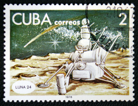 MOSCOW, RUSSIA - JANUARY 7, 2017: A stamp printed in Cuba shows spaceship Lune 24, circa 1978