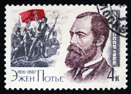 MOSCOW, RUSSIA - JANUARY 7, 2017: A stamp printed in USSR devoted to French revolutionary socialist, poet, freemason and transport worker Eugene Edine Pottier