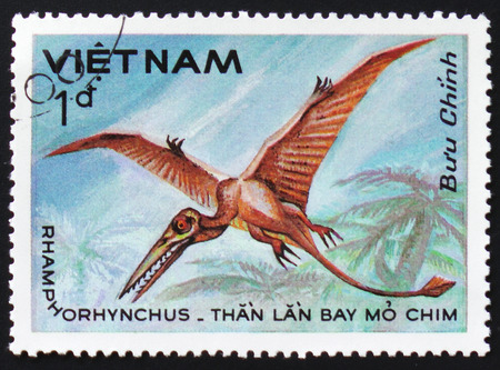 MOSCOW, RUSSIA - FEBRUARY 12, 2017: A stamp printed in Vietnam shows prehistoric animal Rhamphorhynchus, circa 1984