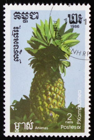 MOSCOW, RUSSIA - FEBRUARY 19, 2017: A stamp printed in Kampuchea shows Pineapple a series of images Editorial
