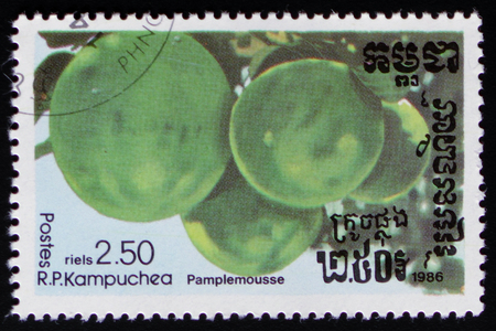MOSCOW, RUSSIA - FEBRUARY 19, 2017: A stamp printed in Kampuchea shows Grapefruit a series of images Exotic fruits circa 1986