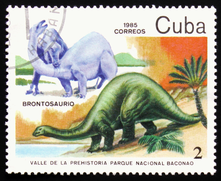 MOSCOW, RUSSIA - FEBRUARY 19, 2017: A stamp printed in Cuba shows Brontosaurus, series devoted to prehistoric animals, circa 1985