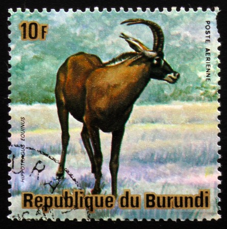 estampilla: MOSCOW, RUSSIA - FEBRUARY 19, 2017: A stamp printed by Burundi shows Antelope roan (Hippotragus equinus), series Animals Burundi, circa 1975