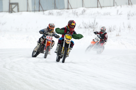 BREKHOVO, MOSCOW REGION, RUSSIA - JANUARY 21, 2017: D. Mosin (96) ride during Winter open cup of DOSAAF MX Speedway on January 21, 2017 Editorial