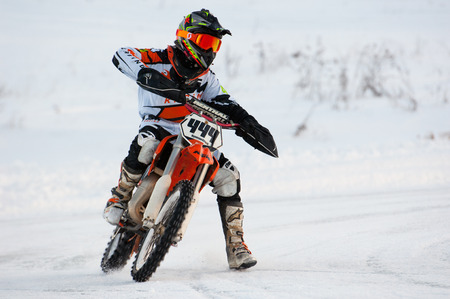 BREKHOVO, MOSCOW REGION, RUSSIA - JANUARY 21, 2017: S. Kulikov (444) during Winter open cup of DOSAAF MX Speedway on January 21, 2017