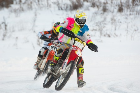 BREKHOVO, MOSCOW REGION, RUSSIA - JANUARY 21, 2017: V. Sichyov (188) during Winter open cup of DOSAAF MX Speedway on January 21, 2017
