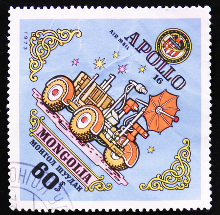 MOSCOW, RUSSIA - APRIL 2, 2017: A post stamp printed in Mongolia shows Lunakhod Apollo 16, circa 1973