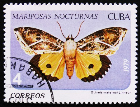 estampilla: MOSCOW, RUSSIA - APRIL 2, 2017: A Stamp printed in Cuba shows image of a Othreis materna Linneo butterfly (Mariposas nocturnas), Night moth series, circa 1979