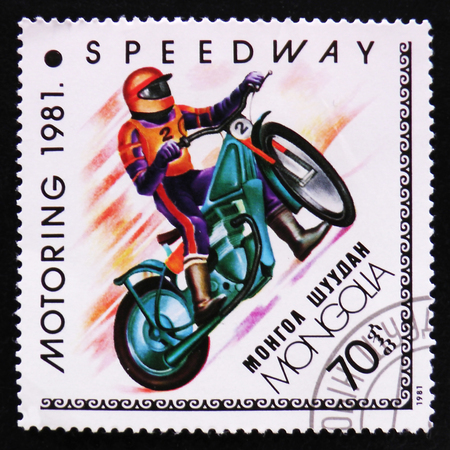 estampilla: MOSCOW, RUSSIA - APRIL 2, 2017: A post stamp printed in Mongolia shows Speedway, Motoring serie, circa 1981