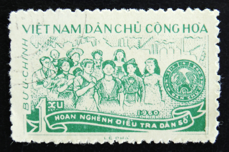 MOSCOW, RUSSIA - APRIL 2, 2017: A post stamp printed in Vietnam shows vietnamese workers, circa 1960