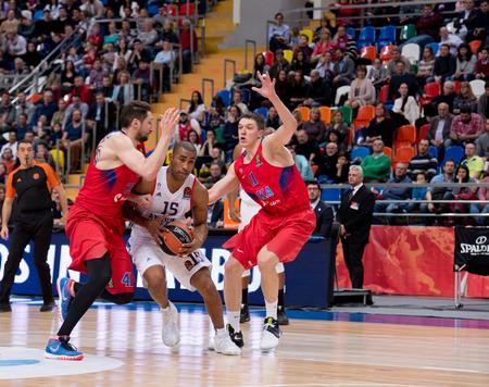 MOSCOW, RUSSIA - JANUARY 27, 2017: J. Granger (15) vs S. Antonov (11) on basketball game CSKA vs Anadolu Efes on Regular championship of Euroleague on January 27, 2017, in Moscow, Russia. CSKA won 80:77