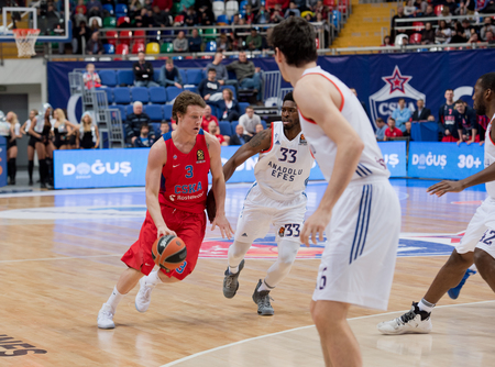 MOSCOW, RUSSIA - JANUARY 27, 2017: Dmitriy Kulagin (3) on basketball game CSKA vs Anadolu Efes on Regular championship of Euroleague on January 27, 2017, in Moscow, Russia. CSKA won 80:77