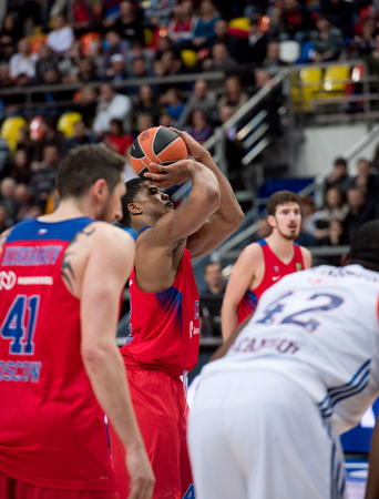MOSCOW, RUSSIA - JANUARY 27, 2017: K. Hines (42) free throw on basketball game CSKA vs Anadolu Efes on Regular championship of Euroleague on January 27, 2017, in Moscow, Russia. CSKA won 80:77