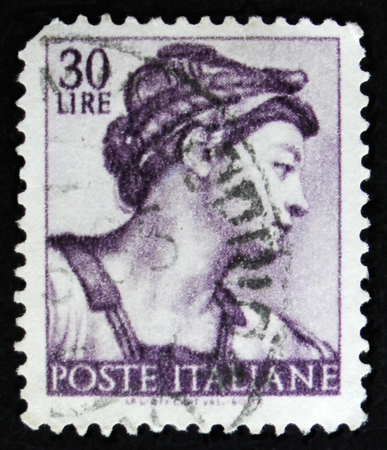 MOSCOW, RUSSIA - APRIL 2, 2017: A post stamp printed in Italy shows Sibyl Eritrea by Michelangio, Frescoes in the Sistine Chapel, circa 1961