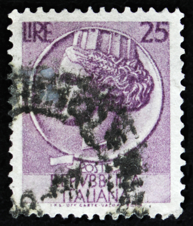 MOSCOW, RUSSIA - APRIL 2, 2017: A post stamp printed in Italy shows ancient coin of Syracuse, the series Syracusean Coin, circa 1968