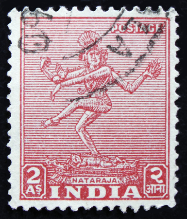 MOSCOW, RUSSIA - APRIL 2, 2017: A post stamp printed in India shows Nataraja, circa 1949