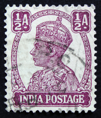 MOSCOW, RUSSIA - APRIL 2, 2017: A post stamp printed in India shows portrait of George VI (1895 -1952), circa 1941