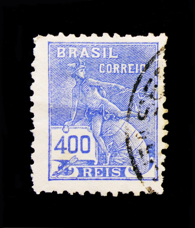 MOSCOW, RUSSIA - OCTOBER 1, 2017: A stamp printed in Brazil shows Mercury and Globe, Definitives - Economy and Culture serie, circa 1931
