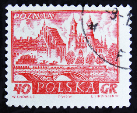 MOSCOW, RUSSIA - APRIL 2, 2017: A post stamp printed in Poland shows view of Poznan, cathedral, bridge over river, with 4 horses on it, circa 1960 Sajtókép