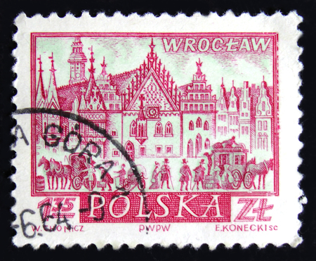 MOSCOW, RUSSIA - APRIL 2, 2017: A post stamp printed in Poland shows view of Wroclaw - the largest city in western Poland, Silesia, circa 1960