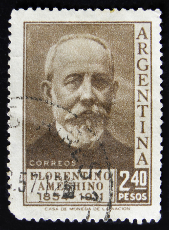 MOSCOW, RUSSIA - APRIL 2, 2017: A post stamp printed in Argentina shows shows Florentino Ameghino, Anthropologist, circa 1956