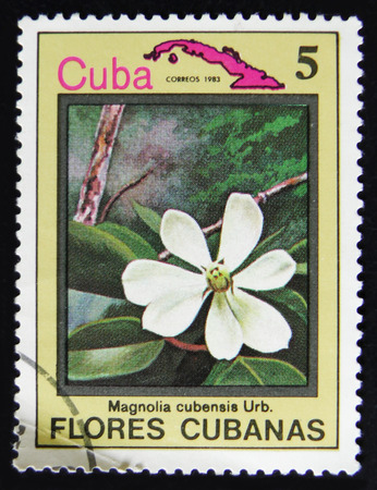 MOSCOW, RUSSIA - APRIL 2, 2017: A post stamp printed in Cuba shows Magnolia flower, circa 1983