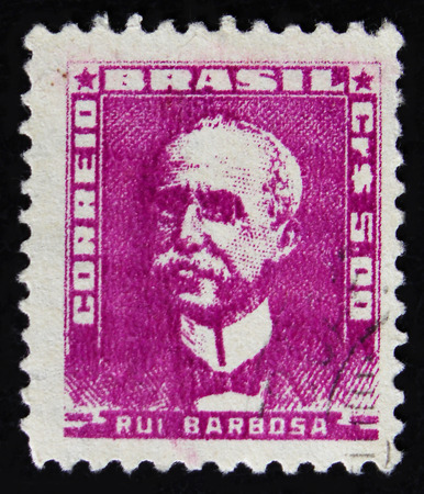 MOSCOW, RUSSIA - APRIL 2, 2017: A post stamp printed in Brazil shows Rui Barbosa de Oliveira, Writer, Jurist and Politician, circa 1954