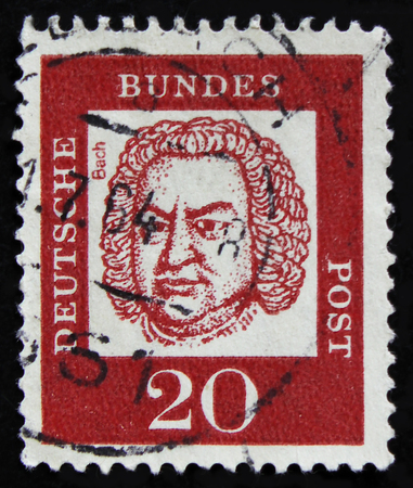 MOSCOW, RUSSIA - APRIL 2, 2017: A post stamp printed in DDR (Germany) shows Johann Sebastian Bach (1685-1750), circa 1961