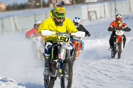 BREKHOVO, MOSCOW REGION, RUSSIA - JANUARY 21, 2017: S. Alekseev (90) during Winter open cup of DOSAAF MX Speedway on January 21, 2017 Sajtókép
