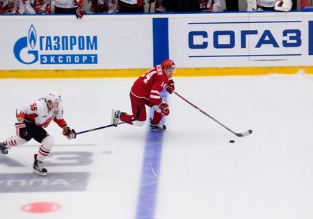 PODOLSK, RUSSIA - SEPTEMBER 3, 2017: A. Denezhkin (14) vs E. Martynov (55) on hockey game Vityaz vs Avangard on 10th Russia KHL championship on September 3, 2017, in Podolsk, Russia. Vityaz won 6:2