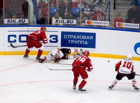 PODOLSK, RUSSIA - SEPTEMBER 3, 2017: K. Semyonov (94) fall down on hockey game Vityaz vs Avangard on 10th Russia KHL championship on September 3, 2017, in Podolsk, Russia. Vityaz won 6:2 Redakční