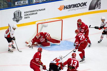 PODOLSK, RUSSIA - SEPTEMBER 3, 2017: I. Saprykin (40) defend the gate on hockey game Vityaz vs Avangard on 10th Russia KHL championship on September 3, 2017, in Podolsk, Russia. Vityaz won 6:2
