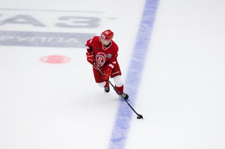 PODOLSK, RUSSIA - SEPTEMBER 3, 2017: N. Burstrom (34) attack on hockey game Vityaz vs Avangard on 10th Russia KHL championship on September 3, 2017, in Podolsk, Russia. Vityaz won 6:2