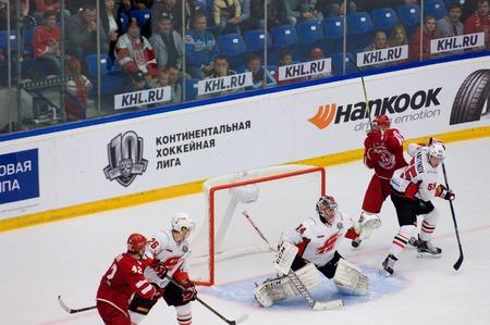 PODOLSK, RUSSIA - SEPTEMBER 3, 2017: on hockey game Vityaz vs Avangard on 10th Russia KHL championship on September 3, 2017, in Podolsk, Russia. Vityaz won 6:2