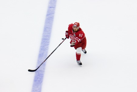 PODOLSK, RUSSIA - SEPTEMBER 3, 2017: I. Golovkov (52) catch a puck on hockey game Vityaz vs Avangard on 10th Russia KHL championship on September 3, 2017, in Podolsk, Russia. Vityaz won 6:2 Redakční