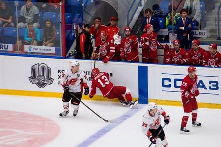 PODOLSK, RUSSIA - SEPTEMBER 3, 2017: E. Mankinen (13) fall down on hockey game Vityaz vs Avangard on 10th Russia KHL championship on September 3, 2017, in Podolsk, Russia. Vityaz won 6:2 Redakční